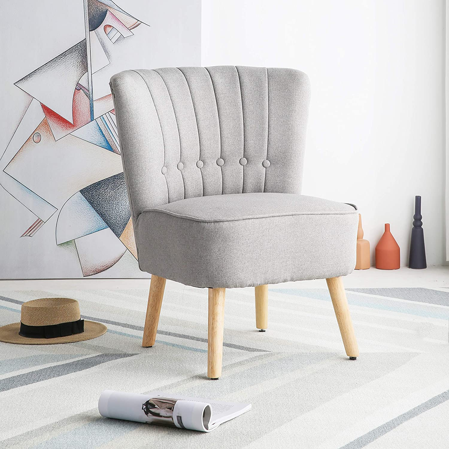 Chester Fabric Accent Occasional Tub Chair Armchair Lounge Bedroom Light Grey Amazon Co Uk Office Products