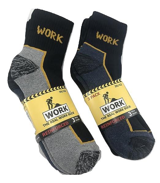 calcetines de trabajo, rizo de algodón, dedo del pie y el talón reforzado: Amazon.es: Ropa y accesorios