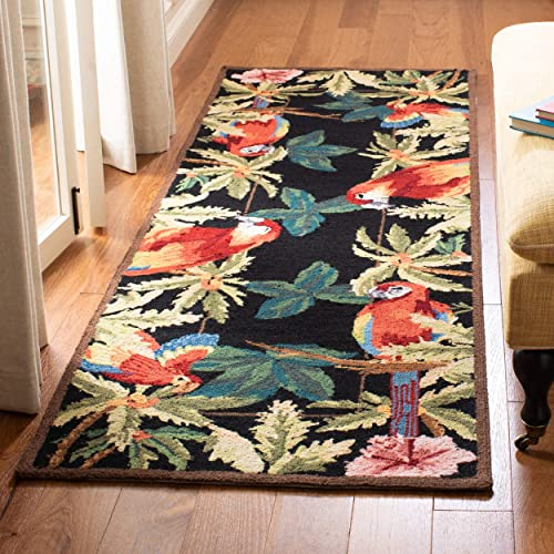 Safavieh Chelsea Collection HK296A Hand-Hooked Black Premium Wool Runner 2 6 x 6