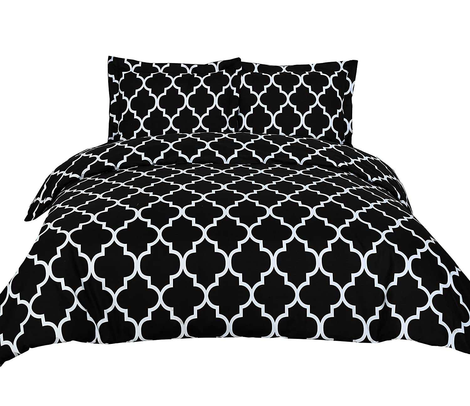 3 Piece Duvet Cover Set Queen, Black
