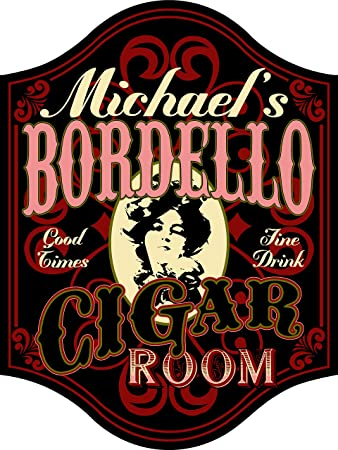 Amazon.com: Bordello personalizado Cigar Bar Letrero De ...