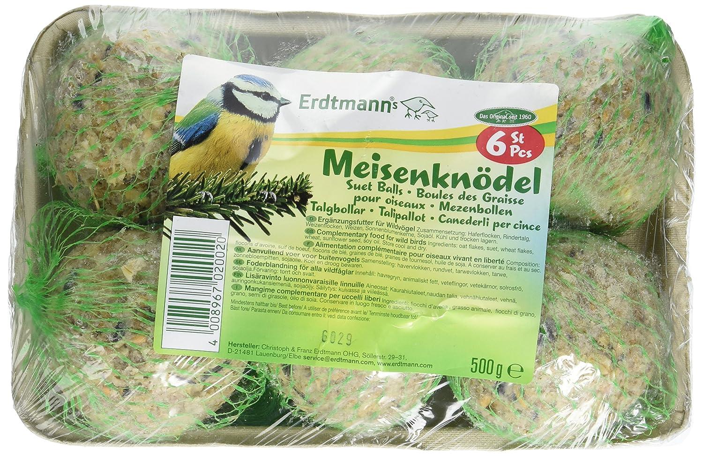 Meisenknödel auf Schale 6er-Pack Erdtmanns Suet Balls singly packed in green nets