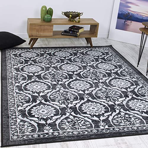 Antep Rugs Casa Azul Collection Geometric Floral Non-Skid Non-Slip Low Profile Pile Rubber Backing Indoor Area Rug Grey, 8 2 x 9 10