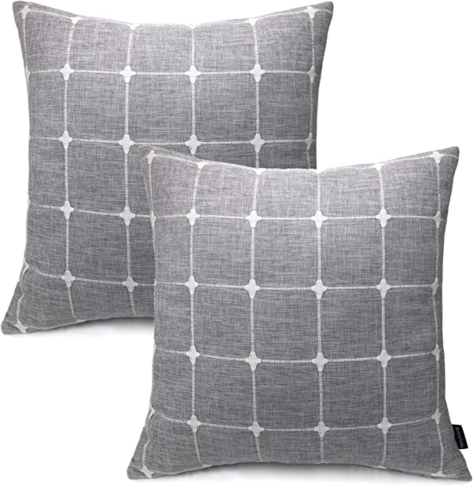 Booque Valley Plaid Pillow Covers 20 X 20 Inch Pack Of 2 Soft Woven Texture Gray Cushion Covers Hand Made Check Throw Pillow Cases For Sofa Bed Car Chair Grey Home Kitchen Amazon Com