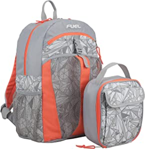 Fuel Backpack & Lunch Bag Bundle, Bright Coral/Soft Silver/Diamond Geo Print