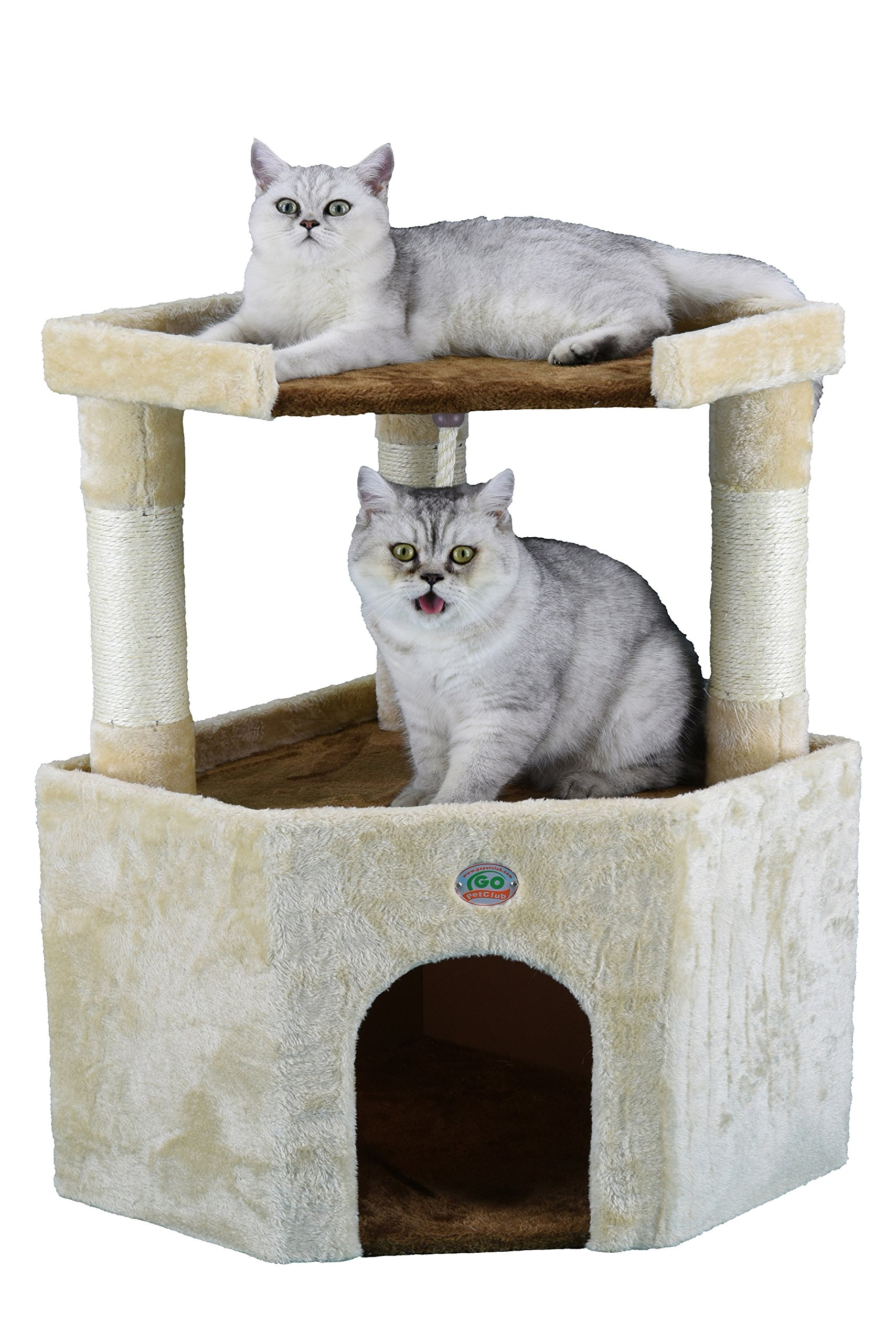 Go Pet Club Tall Beige & Brown Cat House, 32'' by Go Pet Club