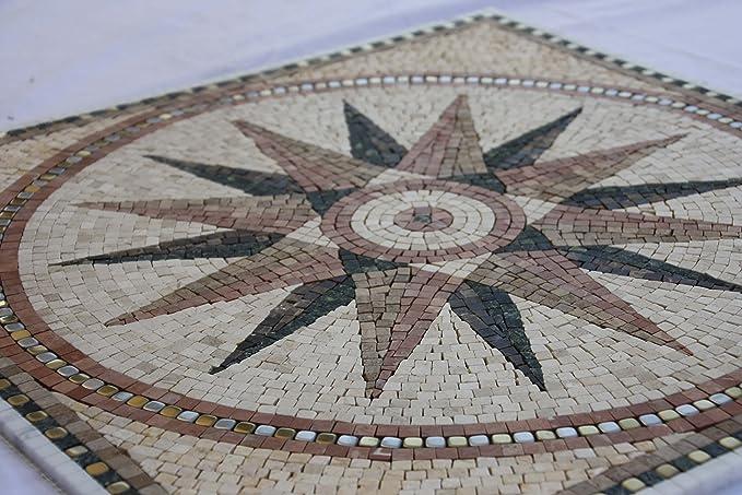 Marbre Rosace Mosaique en carrelage 60x60 cm x 8 mm rose des vents soleil