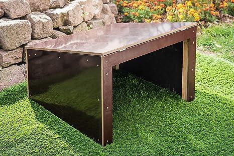 Garaje para robot cortacésped, protección de madera oscura elegante, 69 x 69 x 45