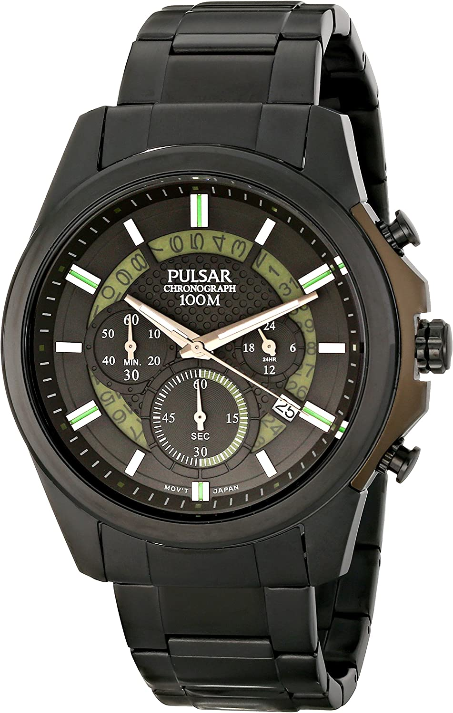 Pulsar Men s PT3523 On The Go Analog Display Japanese Quartz Black Watch