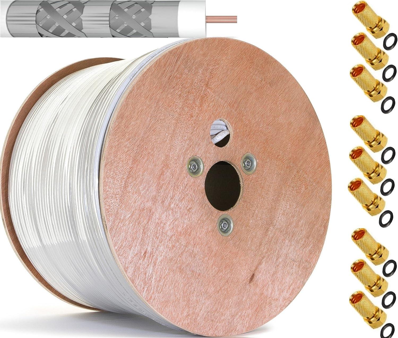 500 m Cobre Puro KU 135 dB apantallado, 5 de cable coaxial Cable coaxial SAT Cable de antena satélite Cable Class A + + con 100 x conectores F con anillo de ...