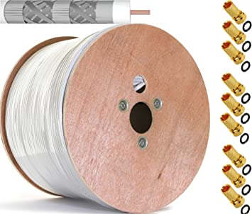 500 m Cobre Puro KU 135 dB apantallado, 5 de cable coaxial Cable coaxial SAT