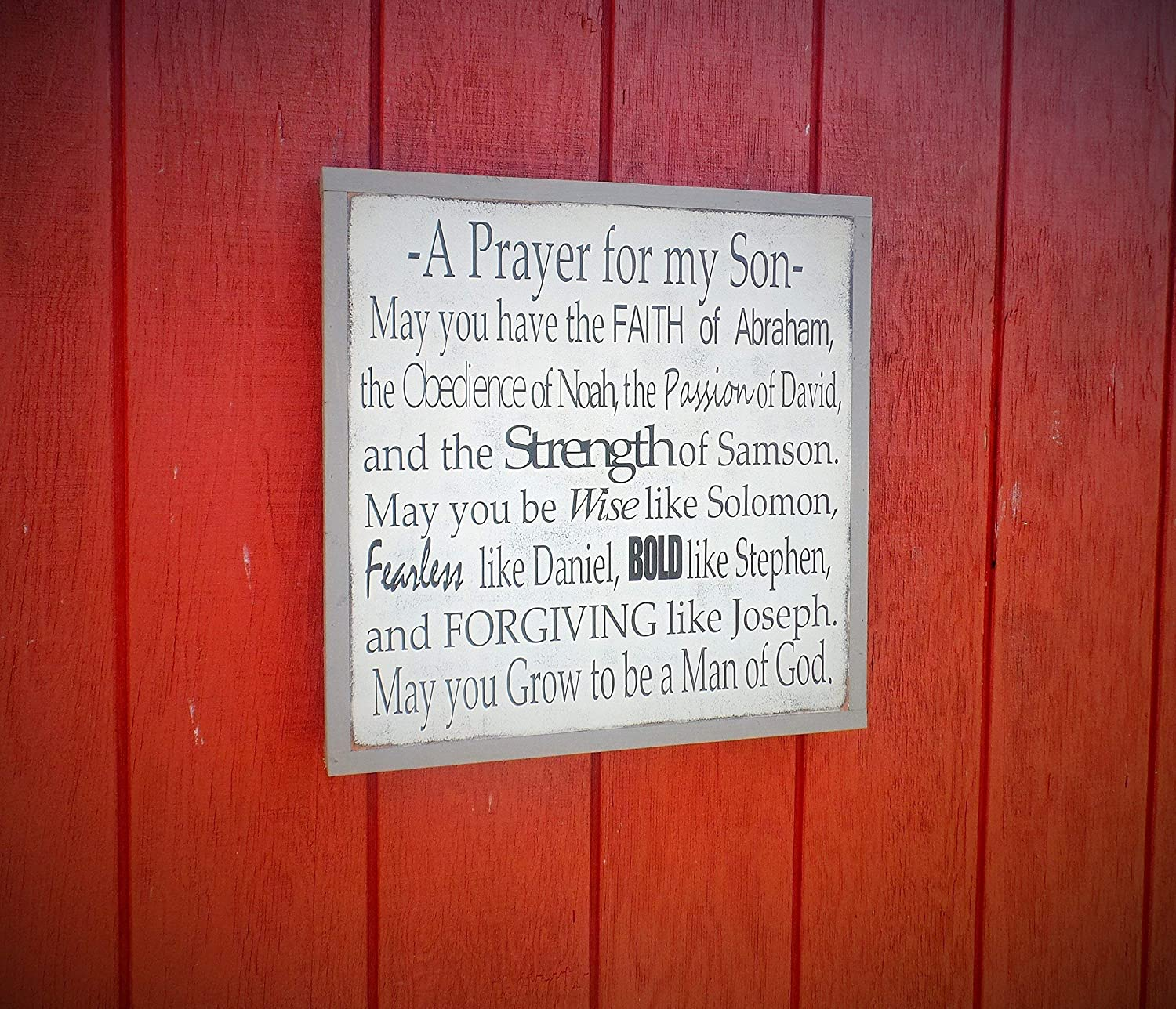 Amazon com: Prayer for My Son Personalized Wood Sign Bible