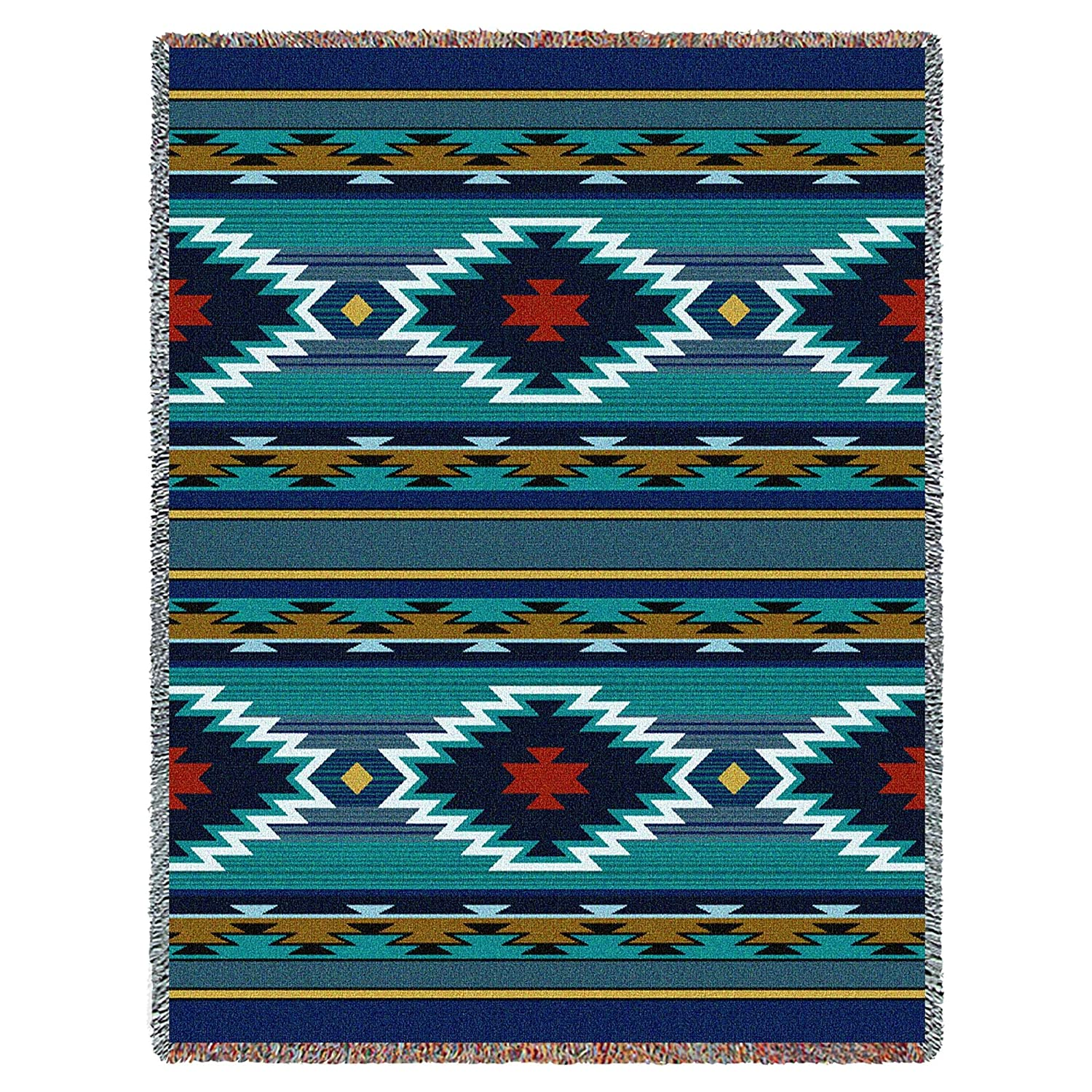 Southwest Geometric Cornflower Tapestry Throw Blanket USA Made