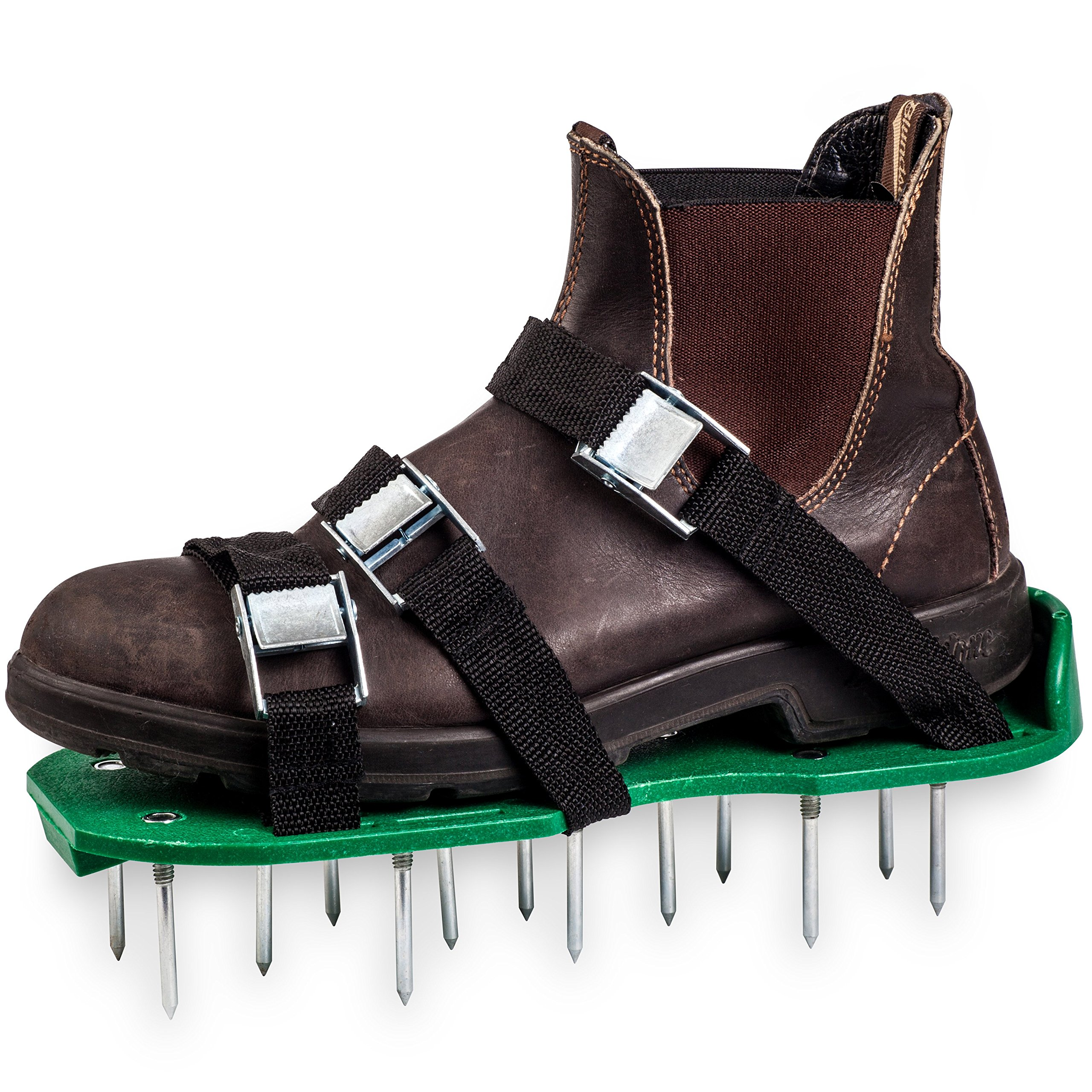 Green Toolz Lawn Aerator Shoes - Heavy Duty with Metal Buckles and 6 Straps - Spiked Sole Lawn Care Sandals Set, Aerating Tools for Your Soil, Grass or Yard- 2'' Long Spikes