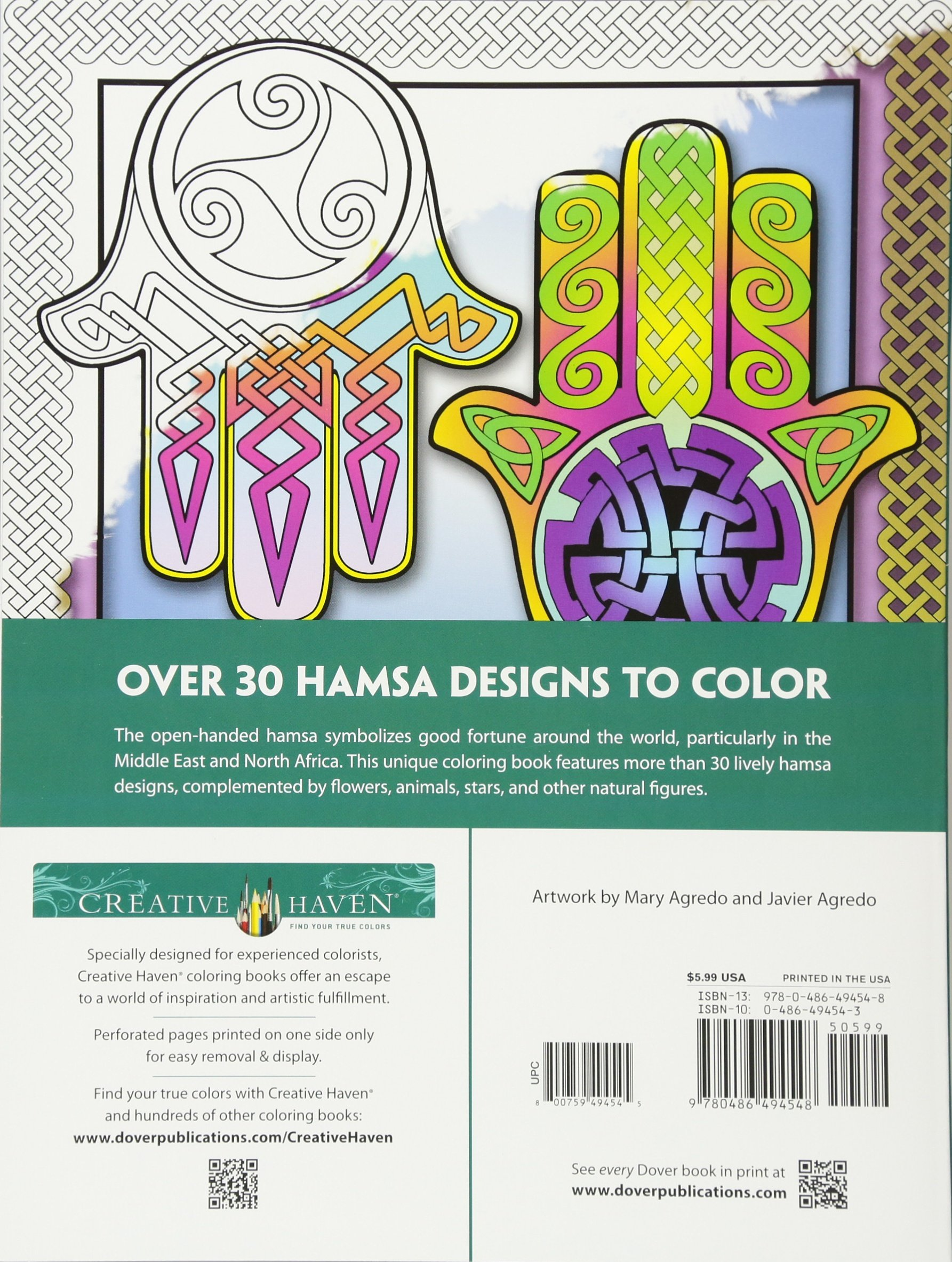 Amazon Creative Haven Hamsa Designs Coloring Book Adult 9780486494548 Mary Agredo Javier Books