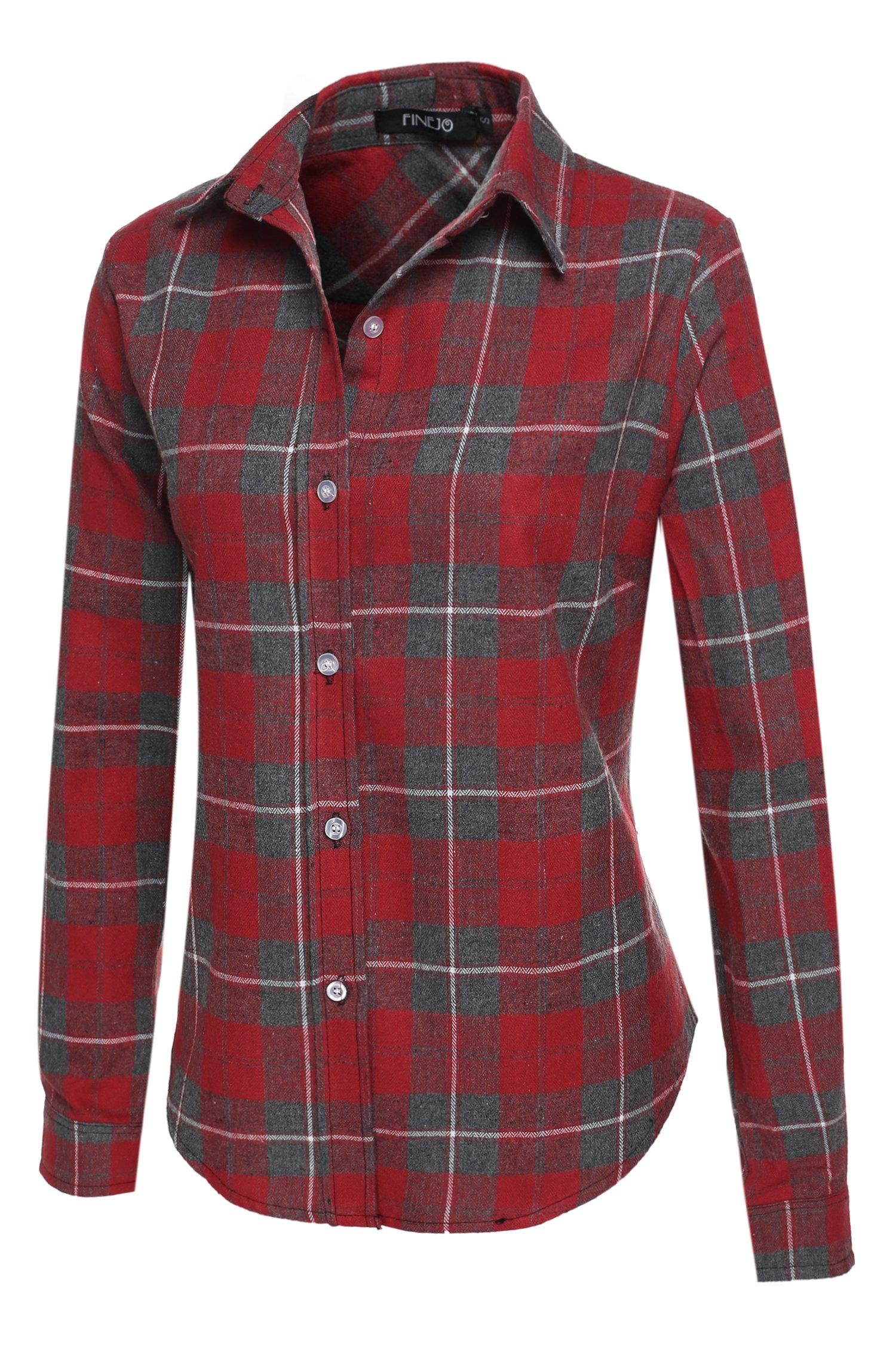 Finejo Women Fashion Casual Turn Down Collar Grid Button Slim Shirt Blouse