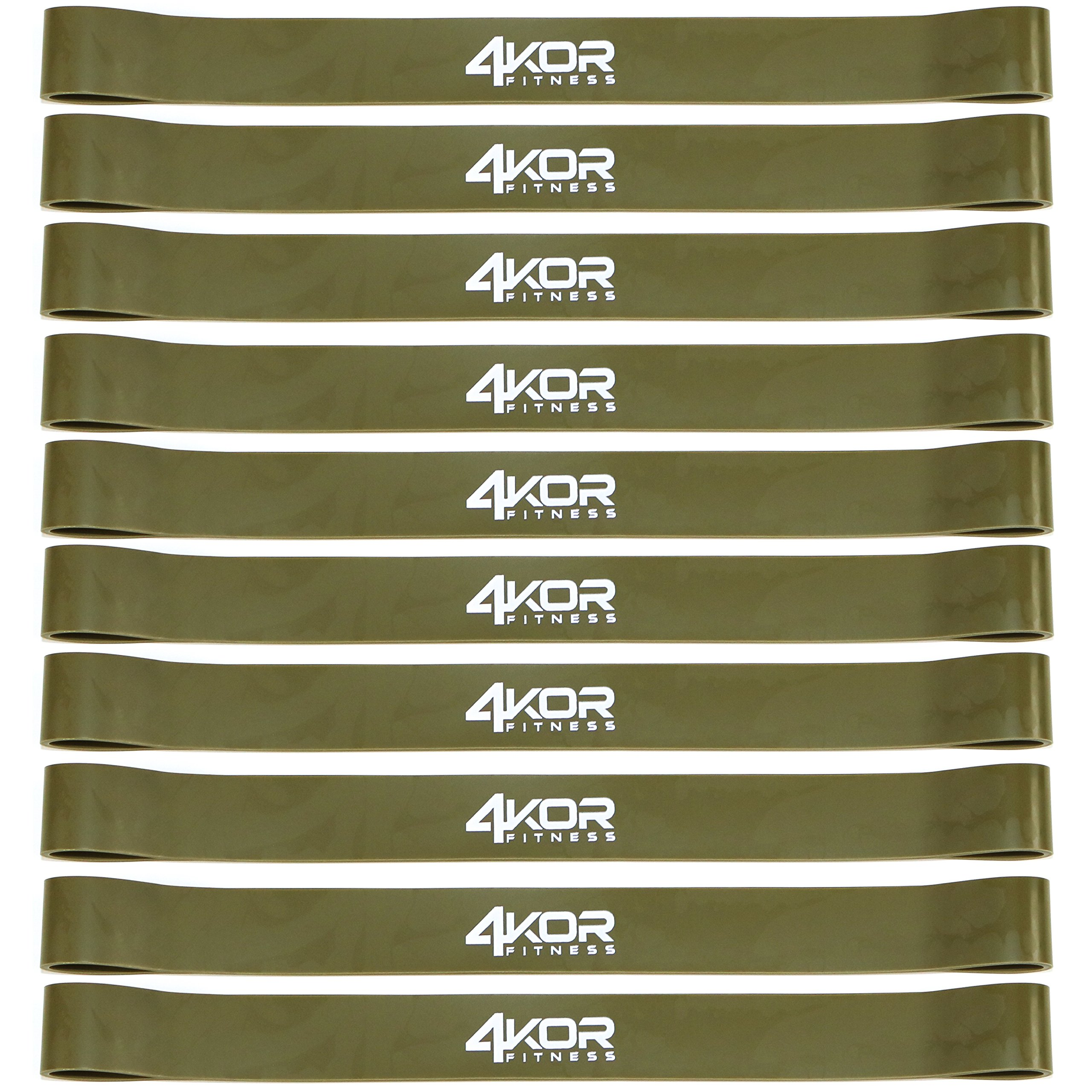 4KOR Fitness Resistance Loop Band Set, Perfect for Crossfit, Yoga, Physical Therapy, and Booty Building (Set of 10 Extra Thick 1.0'' Wide/Tan)