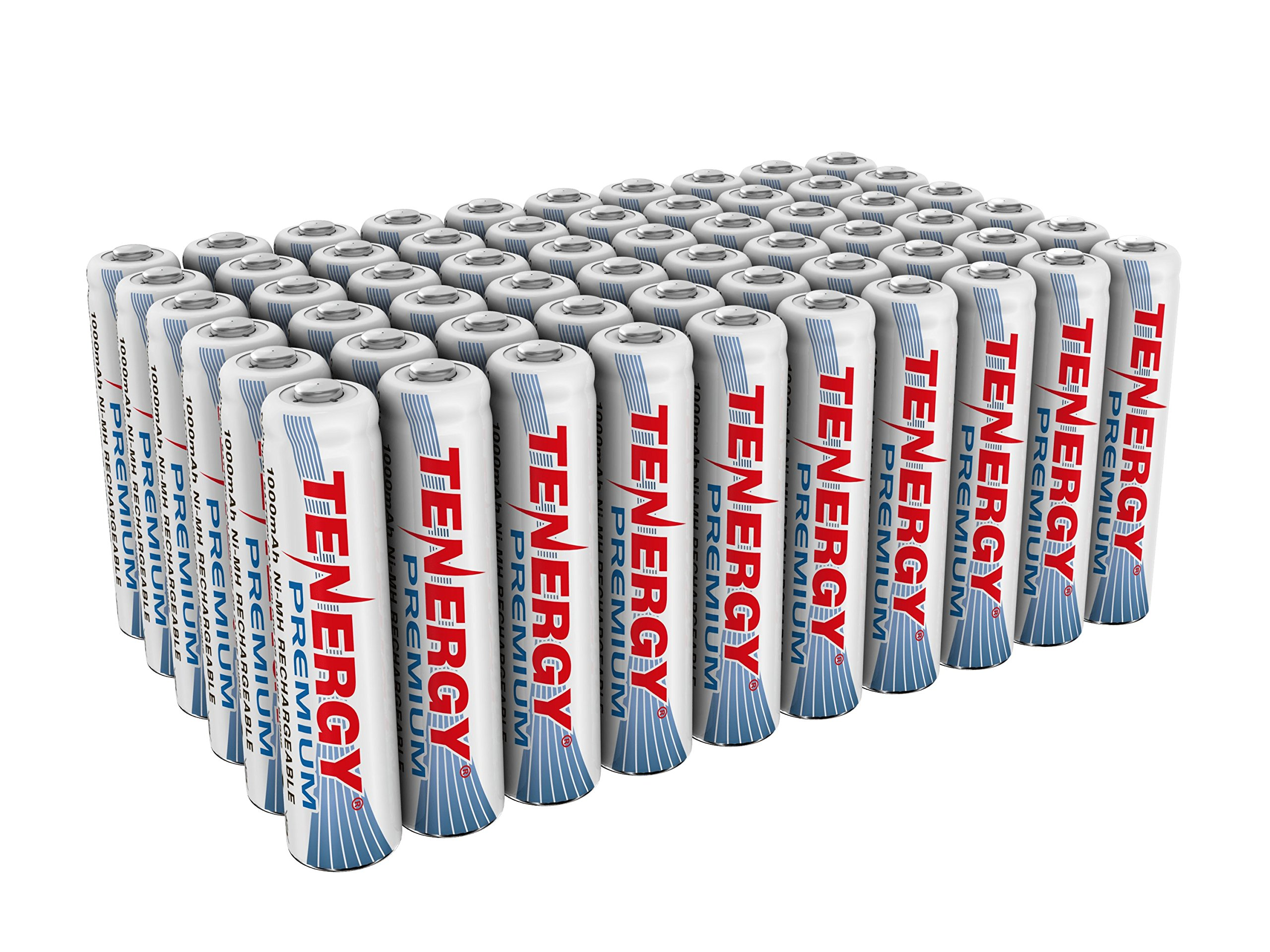 Tenergy Premium Rechargeable AAA Batteries, High Capacity 1000mAh NiMH AAA Batteries, AAA Cell Battery, 60-Pack by Tenergy