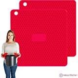 PratiPad PLUS 4-in-1 Multipurpose Silicone Pot Holders, Trivets, Jar Openers, & Spoon Rests - Extra Thick Protection - Set of 2 - Red
