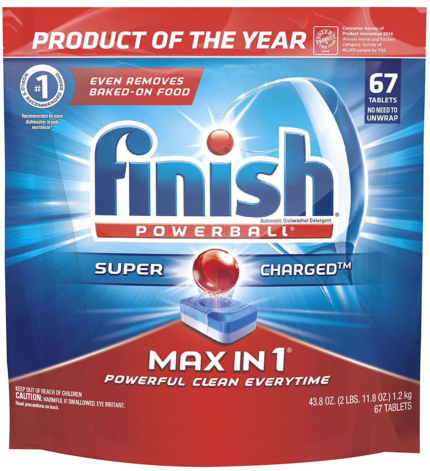 Amazon.com: Finish Max In 1 Powerball, 67ct, Wrapper Free Dishwasher  Detergent Tablets: Health U0026 Personal Care