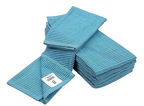 Bumble Towels Lot de 6 Grandes Serviettes de Cuisine 40,6 x 66 cm 3  Couleurs Unies avec éponge côtelée Horizontale Gris/Bleu Vif, Bleu  Turquoise, ...