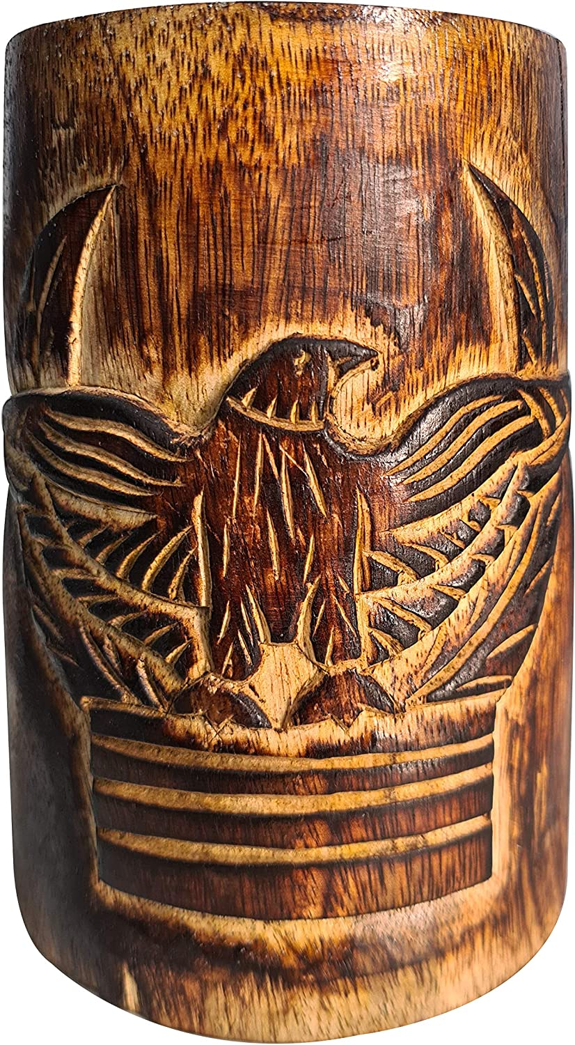 Authentic Retro Rustic Brown Hand Carved Eagle Design Embossed Large Wooden Beer Mug Tankard Food Safe