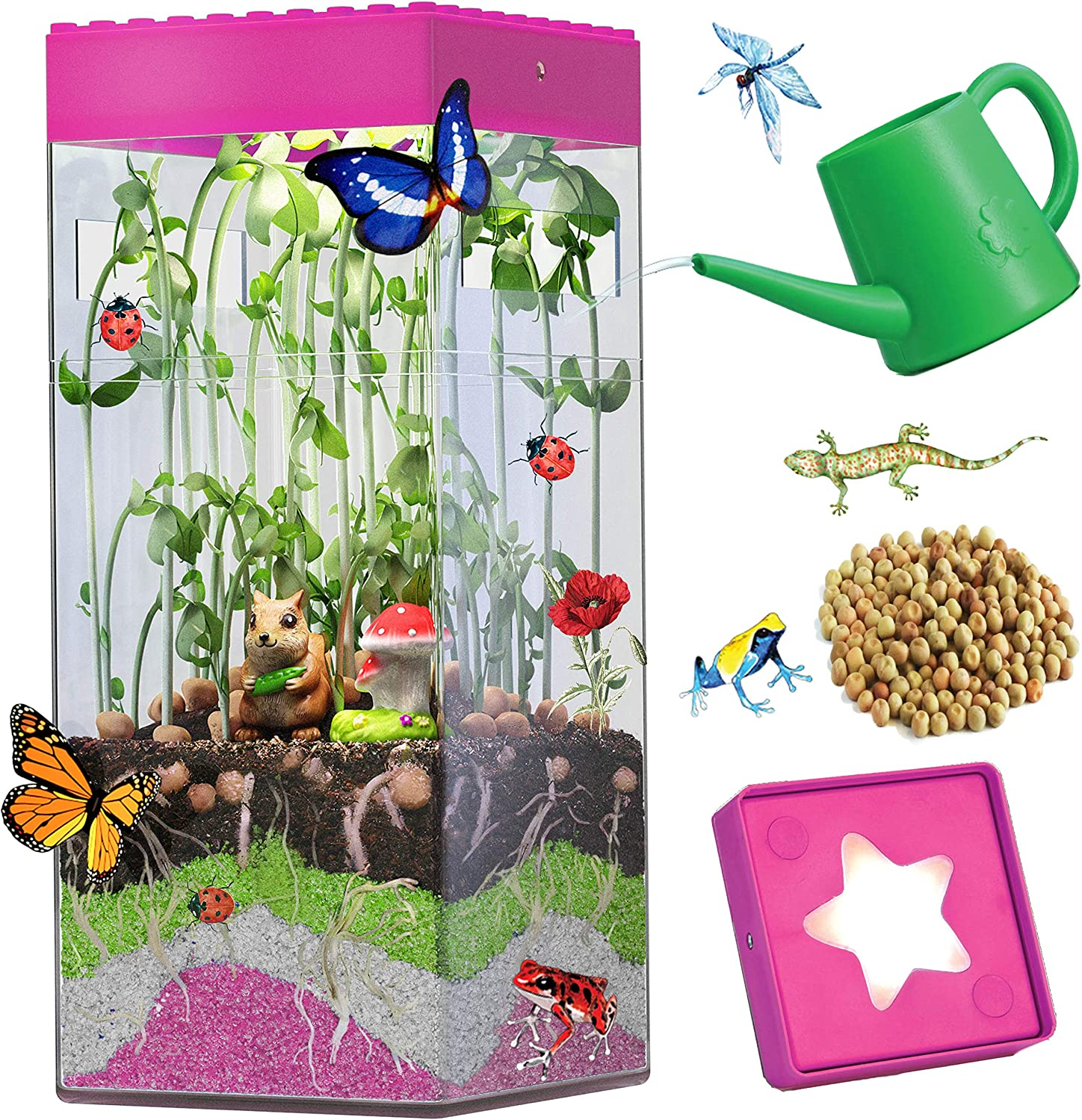 Gardening STEM Toys Kids Butterfly Terrarium Kit for Girls Indoor Planting Kit for Kids Age 4-8 5 6 7 8-12 Pink Nature Crafts Mini Vegetable Garden Microgreen Life Science Kit Gifts with Light