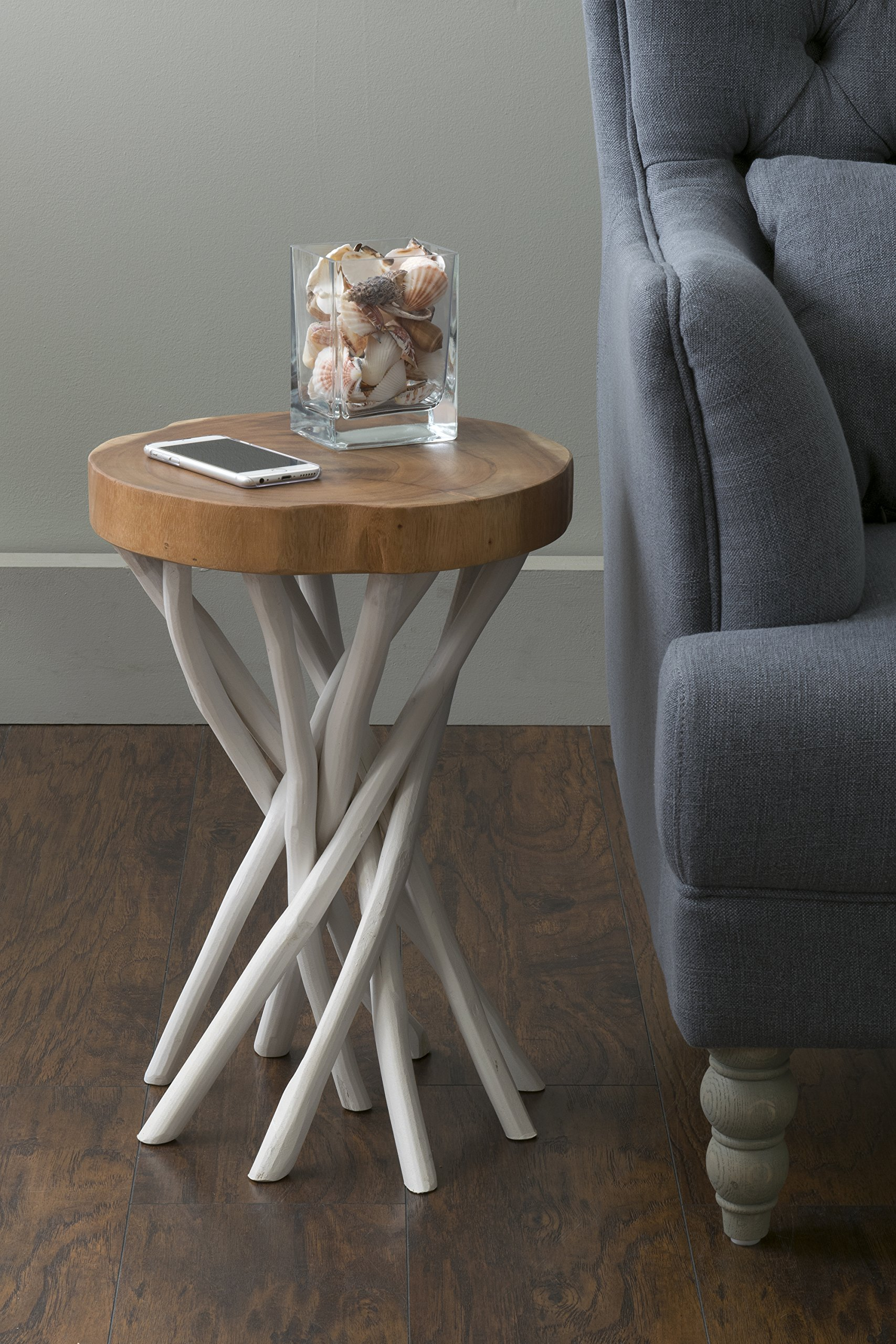 East at Main Kenton Teakwood White Round Accent Table, (14x14x20) by East At Main (Image #2)