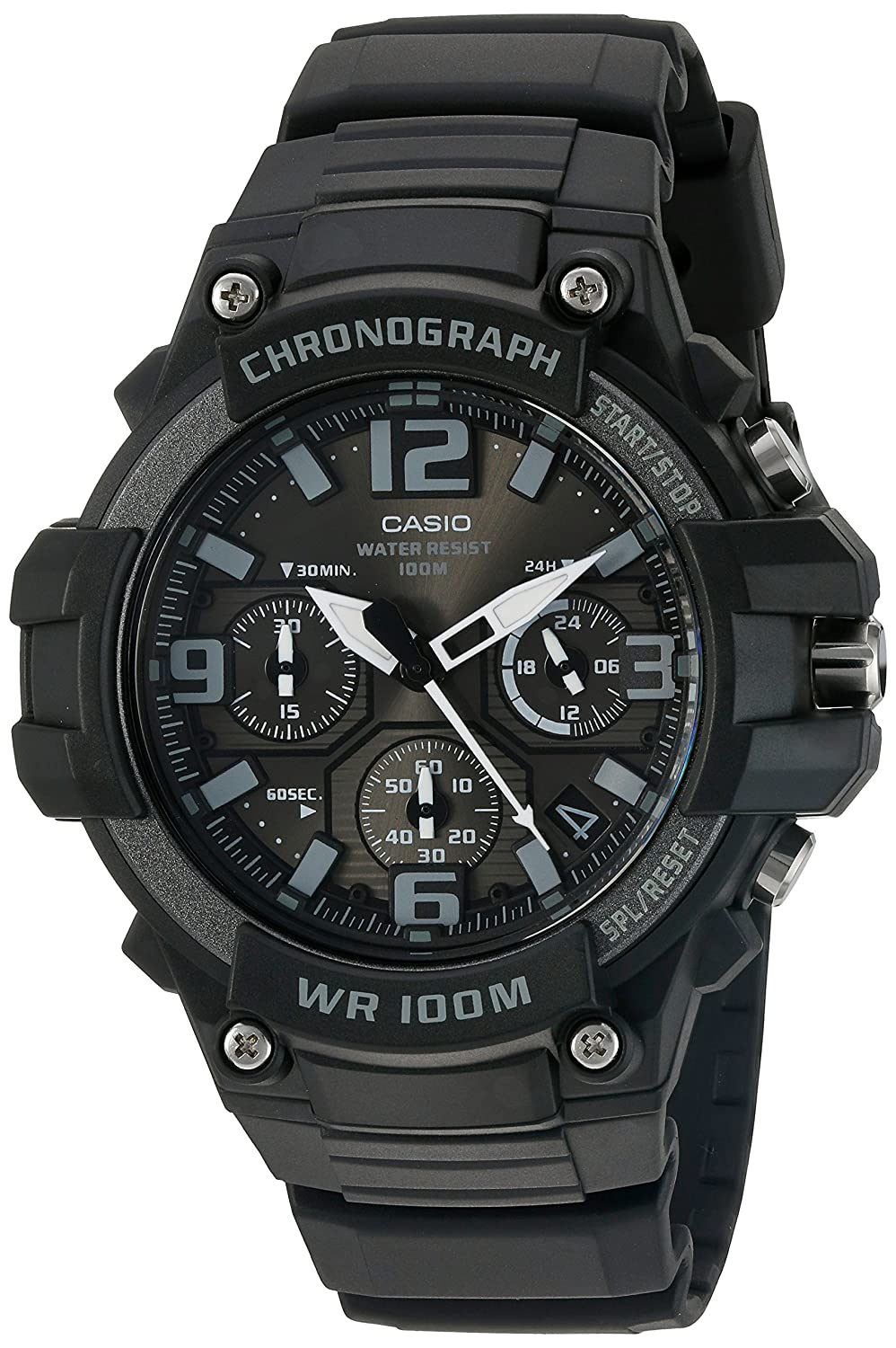 Casio Men s Heavy Duty Chronograph Stainless Steel Quartz Watch with Resin Strap, Black, 25 Model MCW-100H-1A3VCF