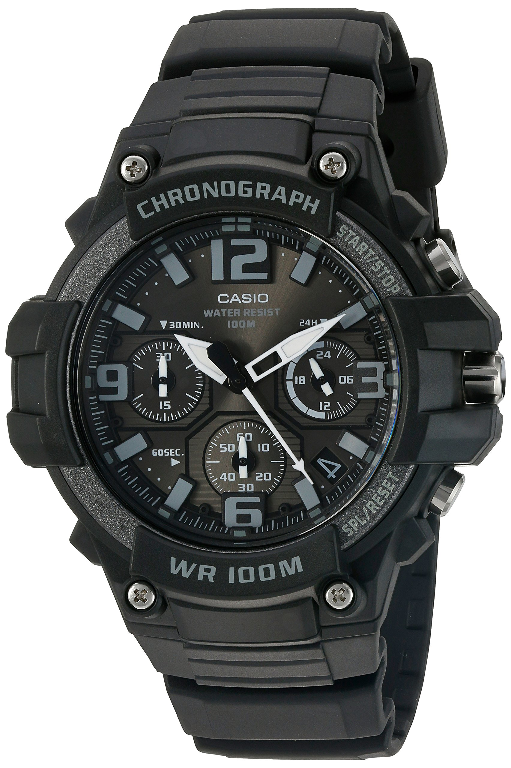 Casio Men's 'Heavy Duty Chronograph' Quartz Stainless Steel and Resin Casual Watch, Color:Black (Model: MCW-100H-1A3VCF) by Casio