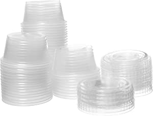 Crystalware (2 oz. 100 Sets) Disposable Plastic Portion Cups with Lids, Condiment Cup, Jello Shot, Souffle Portion, Sampling Cup – Clear