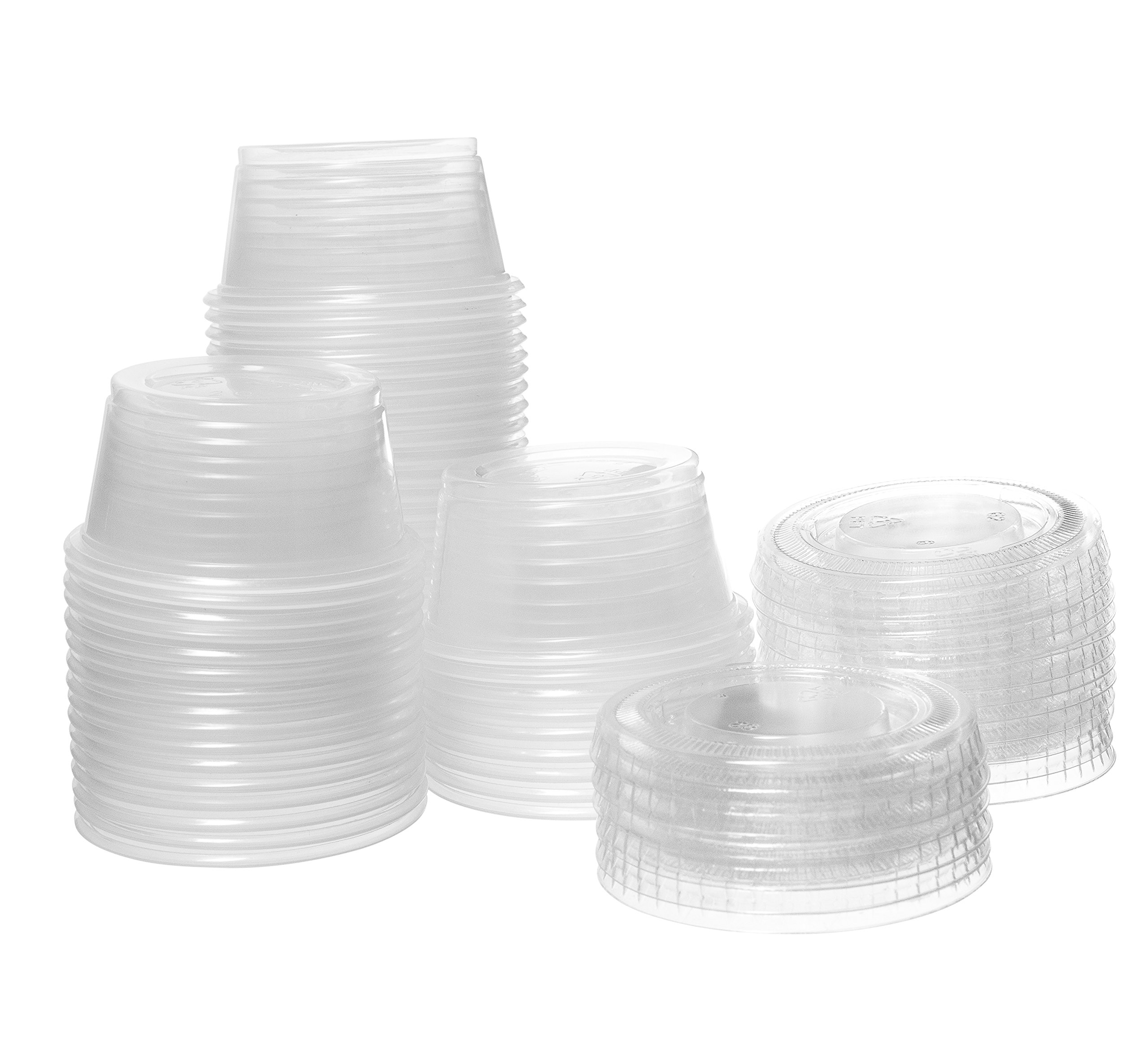 Crystalware Disposable 2oz. Plastic Portion Cups with Lids - Condiment Cup, Jello Shot, Soufflé Portion, Sampling Cups, 100 Sets – Clear