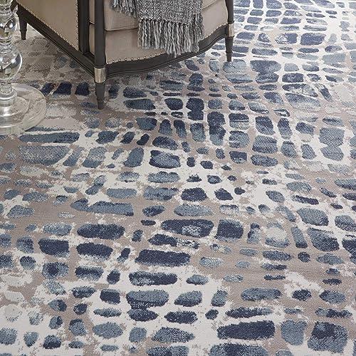 Nourison Urban Decor Slate Blue and White Rustic Area Rug 9 x 12 , Ivory Grey