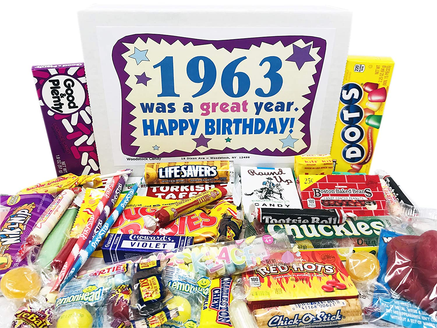 Woodstock Candy ~ 1963 58th Birthday Gift Box Nostalgic Retro Candy Assortment from Childhood for 58 Year Old Man or Woman Born 1963 Jr