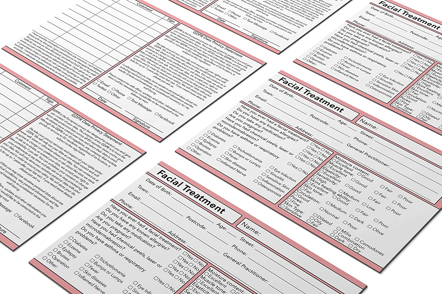 Salon and Therapist Customer Consultation Record Paper Facial Treatment Client Cards GDPR Large A5 Size Profile Recording Forms Data Protection Pack of 100