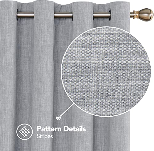 Deconovo Grey Fulll Blackout Curtains with White Backside Thermal Insulated Grommet Bedroom Curtains for Beroom 52W X 45L Inch Light Grey 2 Panels