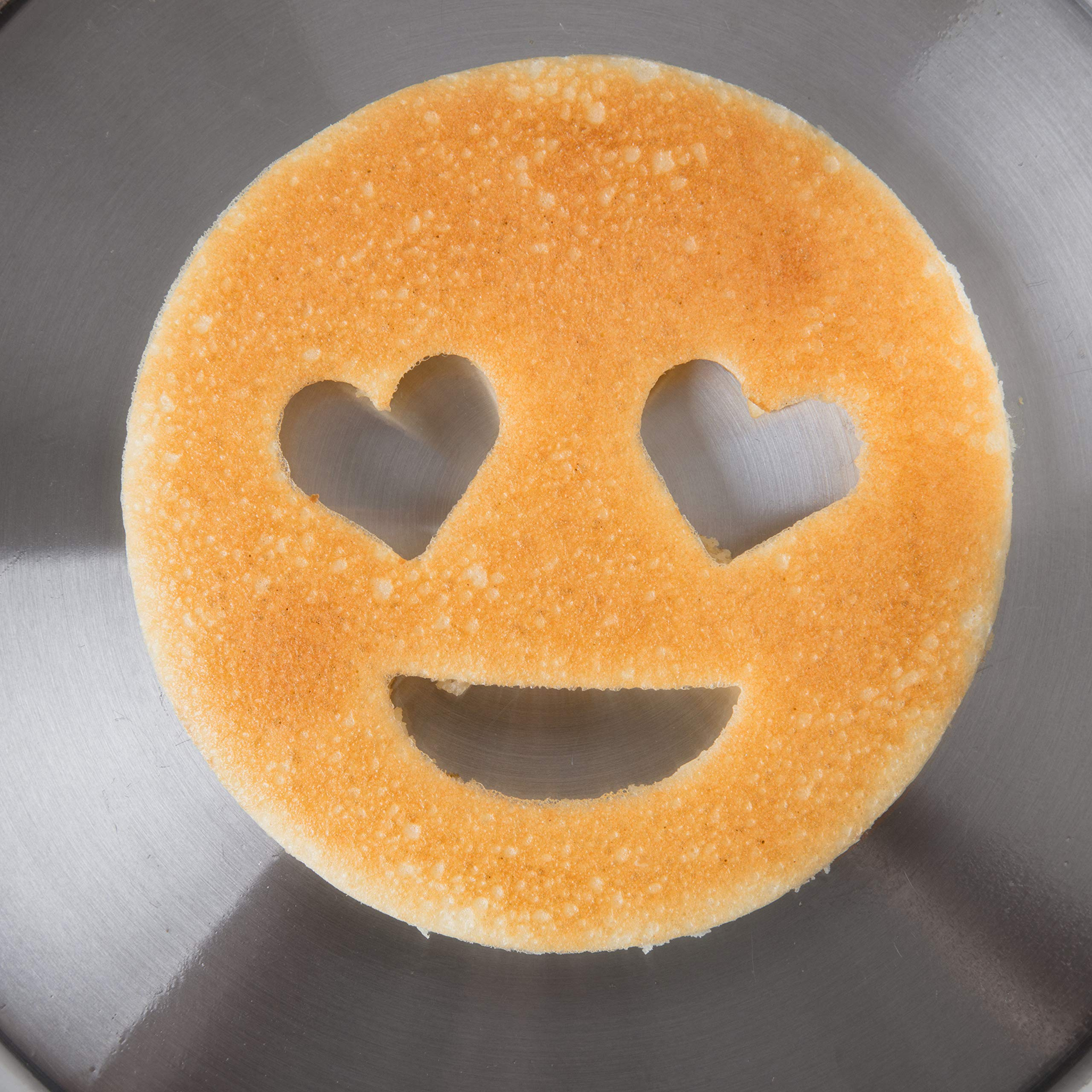 Emoji Pancake Molds and Egg Rings (4 Pack) for Kids AND Adults - Reusable Silicone Smiley Face Maker Doubles as Cookie Maker Set- FDA Approved, BPA Free, Food Safe, Heat Resistant Silicone by Good Cooking (Image #5)