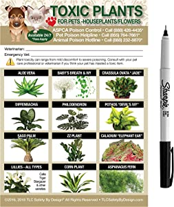 """TLC Safety By Design ENHANCED TOXIC PLANTS FLOWERS TRADEMARKED Poison for Pets Dogs Cats Emergency Home Alone 5"""" x 7"""" Veterinarian Approved Refrigerator Safety Magnet (Qty. 1 w/Sharpie from TLC)"""