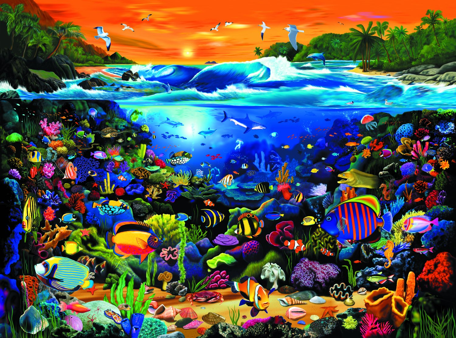 Freshwater fish jigsaw puzzles - Amazon Com Ravensburger Underwater Fun 1000 Pieces Puzzle Toys Games