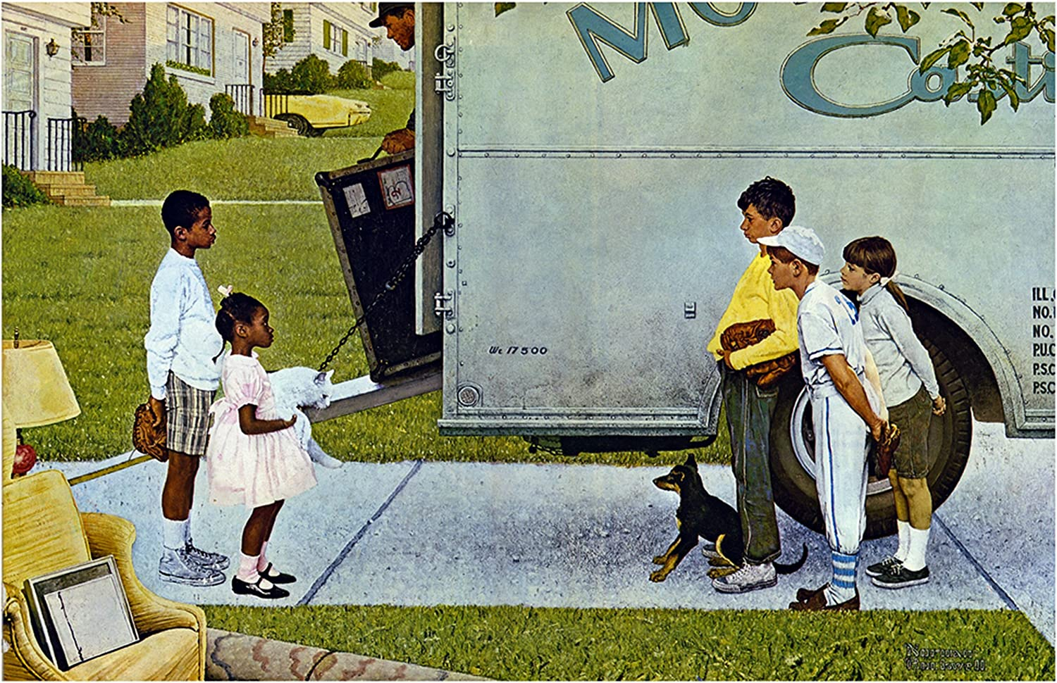 Norman Rockwell Strolling Print A WALK IN THE COUNTRY