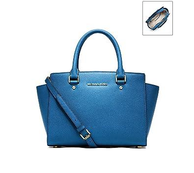16873165fab5 MICHAEL Michael Kors Womens Selma Leather Textured Satchel Handbag Blue  Medium: Handbags: Amazon.com