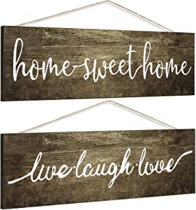 Jetec 2 Pieces Wooden Home Sweet Home Signs Live Laugh Love Signs Farmhouse Decor Signs Wooden Hanging Printed Signs Rustic Wooden Decors for Home Bedroom Kitchen, 13.8 x 3.8 Inch