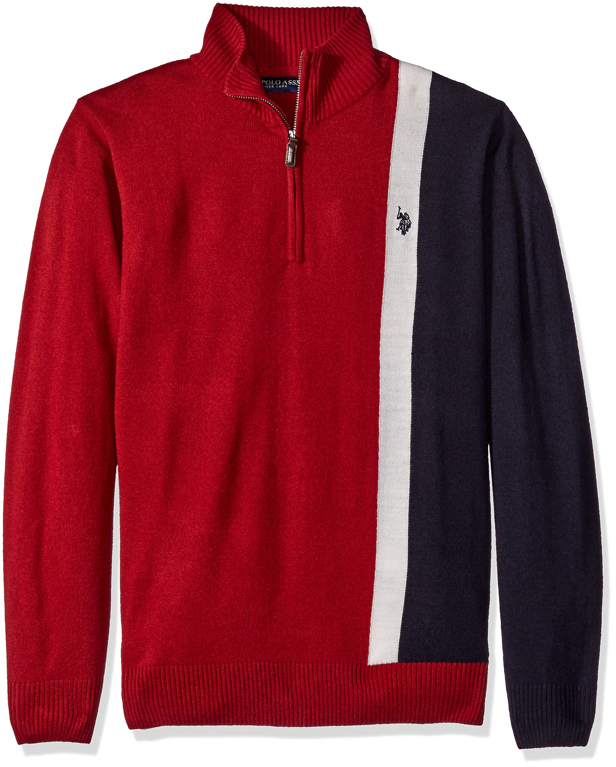 U.S. Polo Assn. Men's Vertical Striped 1/4 Zip Sweater, Red, X-Large