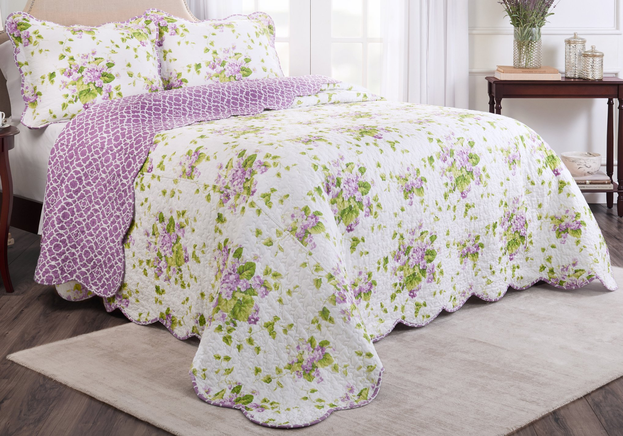 Waverly Sweet 3-Piece Bedspread Collection, King, Violet
