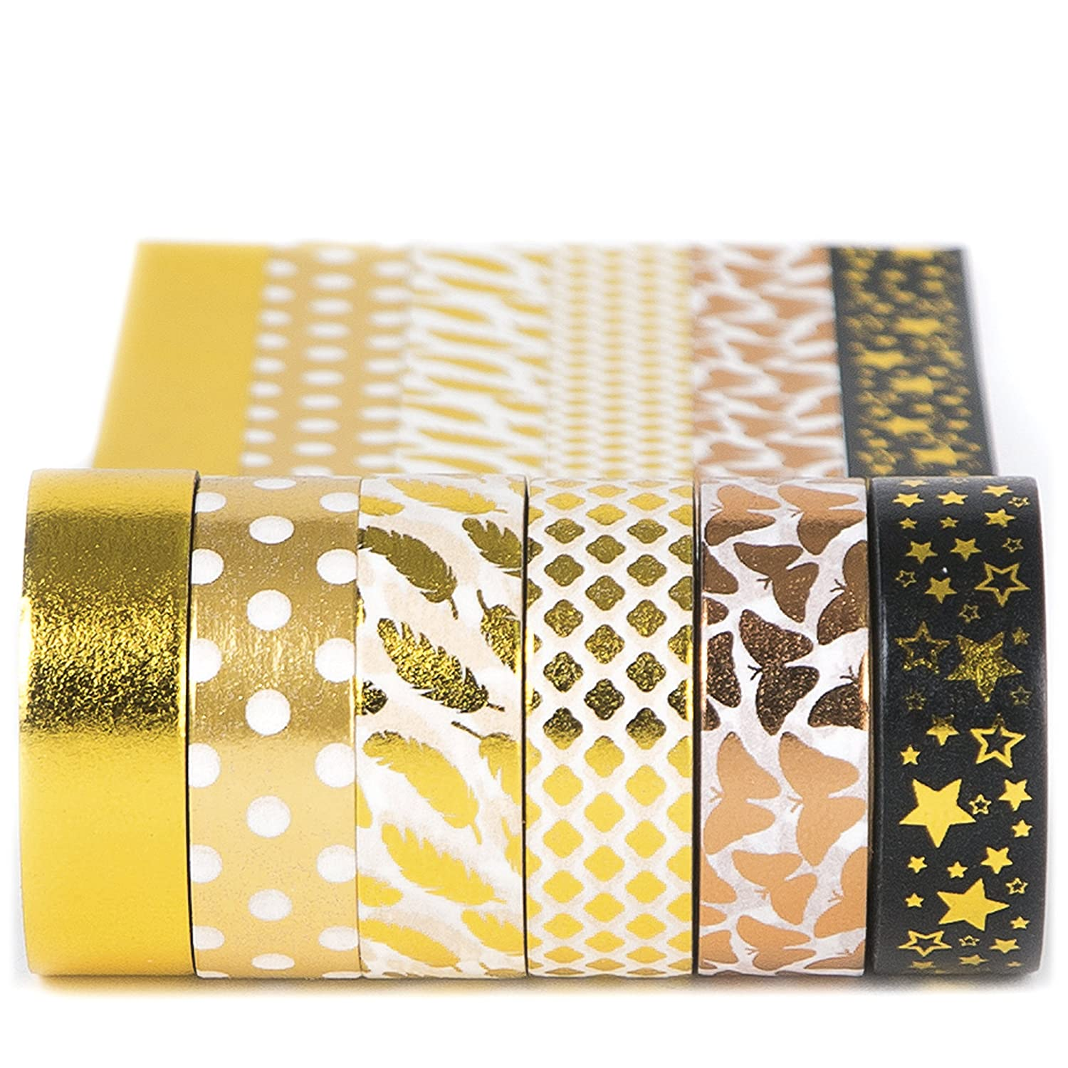 Gold Washi Tape Set 6 rolls, Decorative Craft Tapes Kit of Cute Patterns for Scrapbooking, DIY Projects