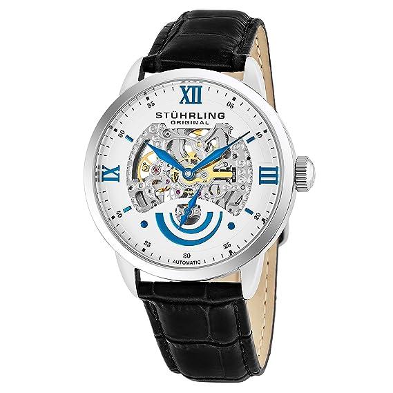 Stührling Original 574.01 - Reloj automático para hombre, correa de cuero, color negro: Amazon.es: Relojes
