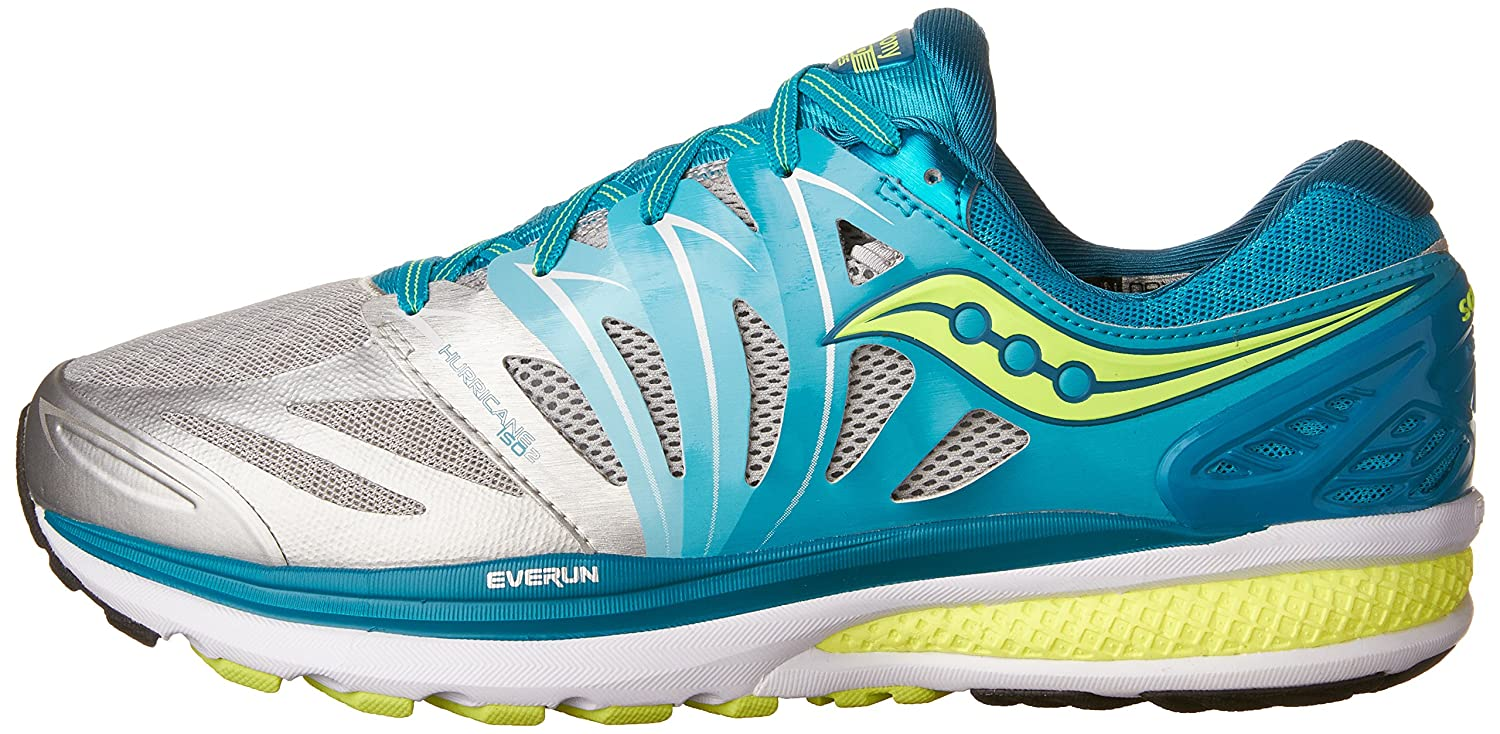 Saucony Women's Hurricane ISO 2 Road Running Shoe B00YBE3AKS 11 B(M) US|Blue/Silver/Citron