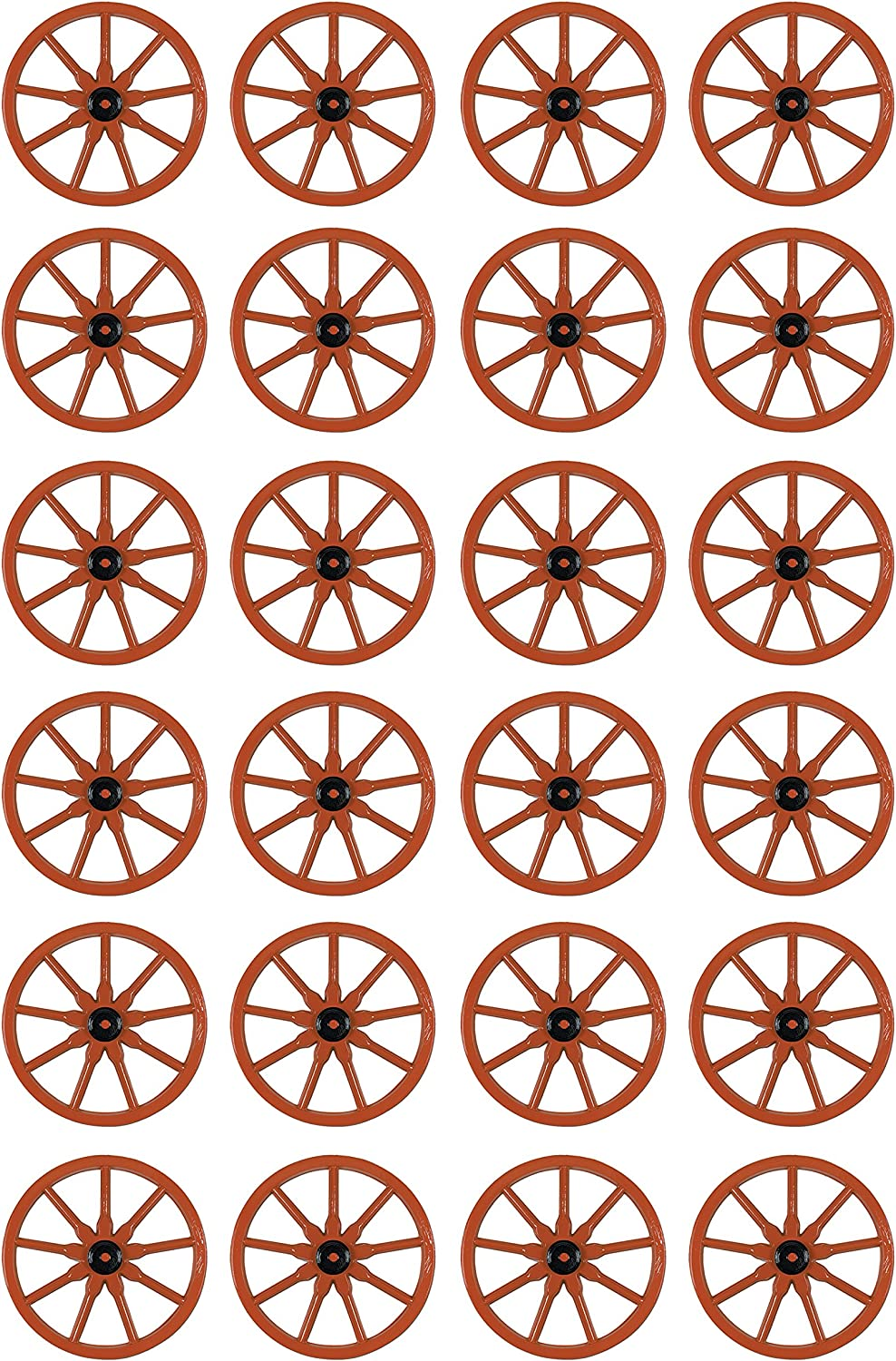 Beistle Plastic Wagon Wheels 24 Piece, Brown/Black