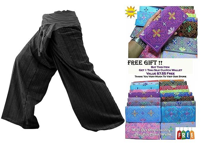 dd7e84b53c5 2 TONE Thai Fisherman Pants Yoga Trousers FREE SIZE Plus Size Cotton Stripe