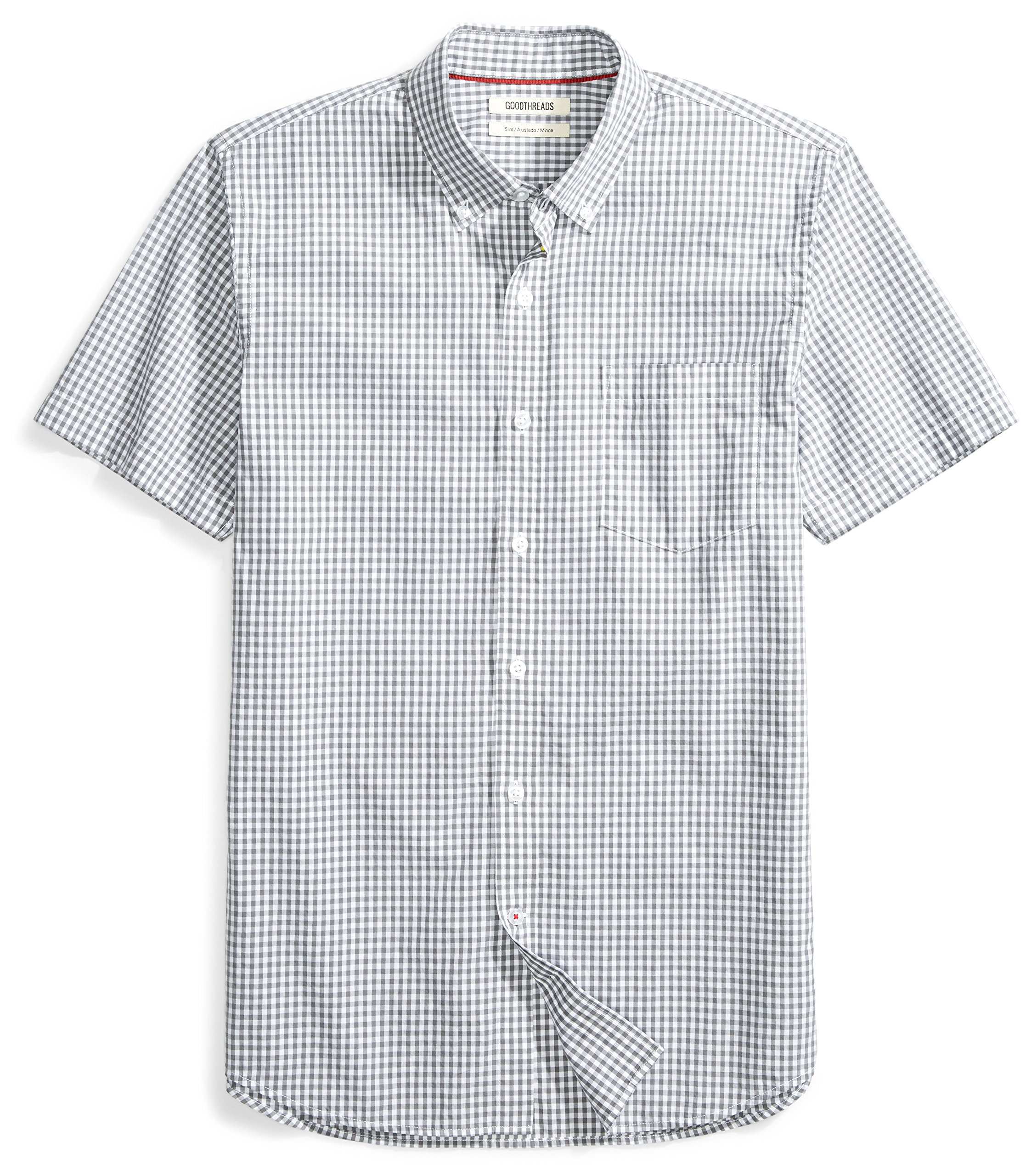 Goodthreads Men's Slim-Fit Short-Sleeve Two-Color Check Shirt Shirt, White/Grey, Medium